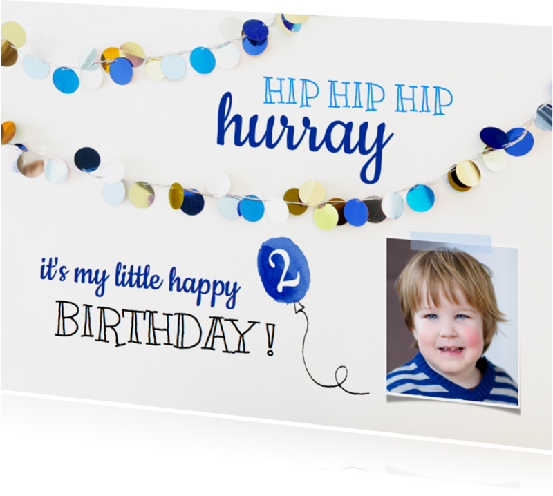 Kinderfeestjes - Kinderfeestje uitnodiging slingers blauw