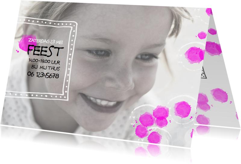 Kinderfeestjes - Kinderfeestje uitnodiging vrolijk waterverf+foto-IP