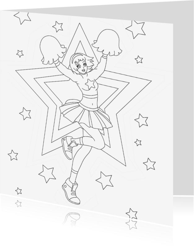 Kleurplaat kaarten - kleurplaatkaart cheerleader- MT
