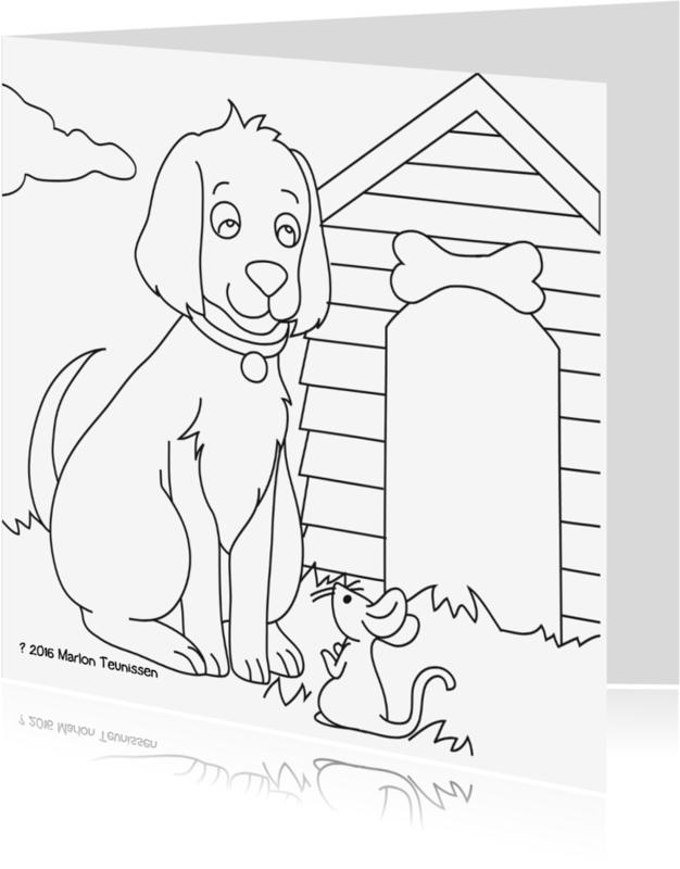 Kleurplaat kaarten - kleurplaatkaart hondje- MT