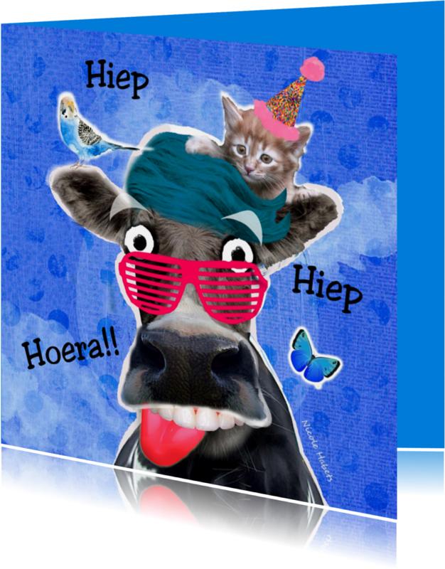 Verjaardagskaarten - koe met kat en vogel