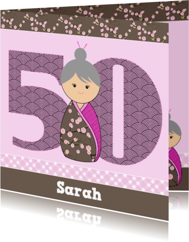 Verjaardagskaarten - Kokeshi Oma 50