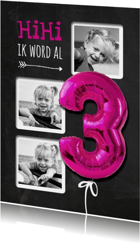 Kinderfeestjes - Krijtbord HiHi Ballon Drie Roze - SG