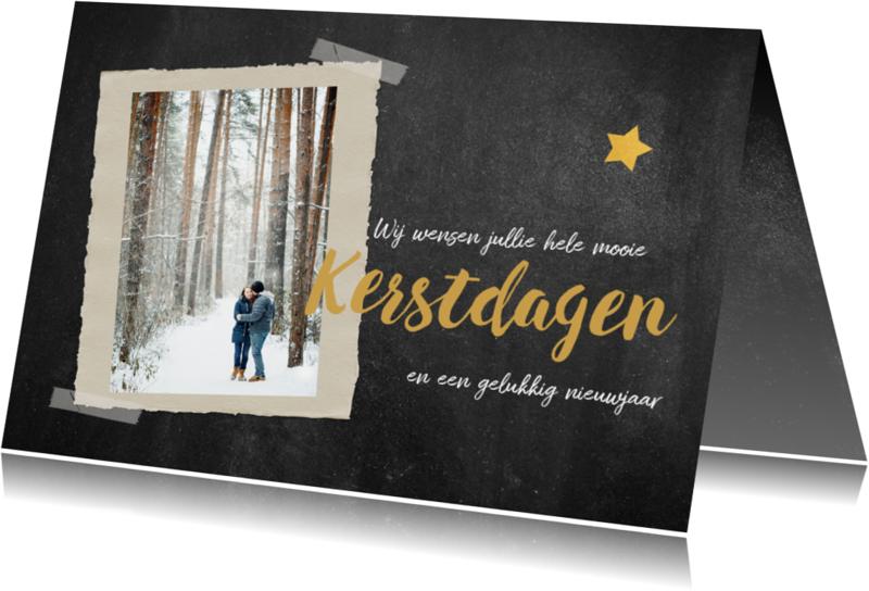 Kerstkaarten - Krijtbord kerstkaart met foto