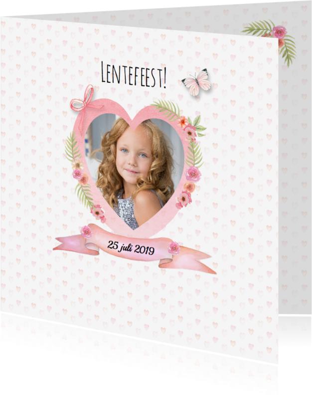 Communiekaarten - Lentefeest hart meisje