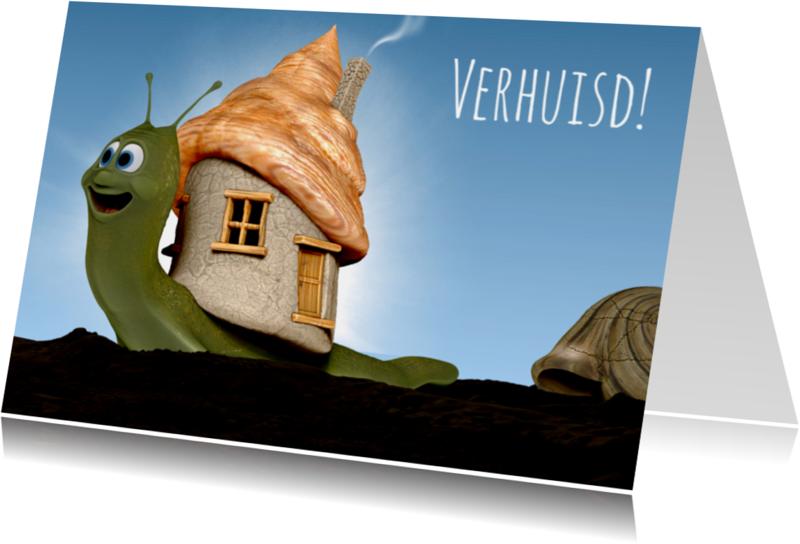 Verhuiskaarten - Leuk slakje met nieuw huis verhuiskaart