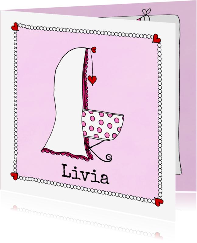 Geboortekaartjes - Lief geboortekaartje met illustratie wiegje - SD