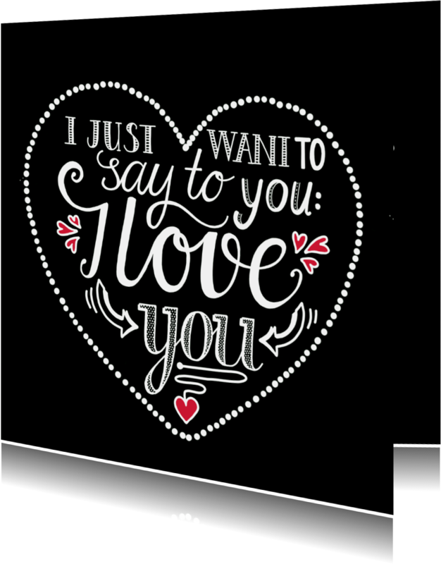 Liefde kaarten - Liefde - I love you black