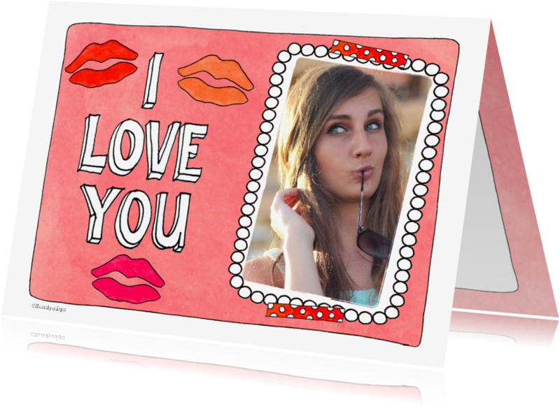 Liefde kaarten - Liefde I love you kus - SD