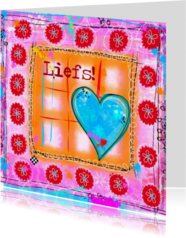 Vriendschap kaarten - Liefs hartje en bloemetjes
