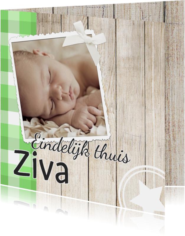 Geboortekaartjes - Lieve adoptiekaart met hout - DH