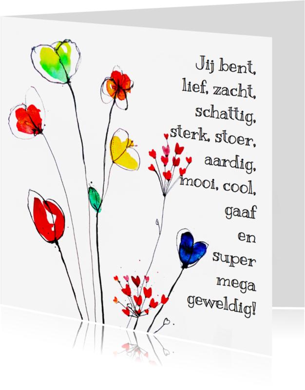 Liefde kaarten - Lieve kaart met bloemen