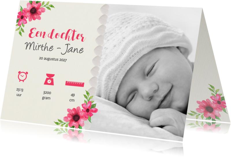 Geboortekaartjes - Linnen look met bloemen - DH