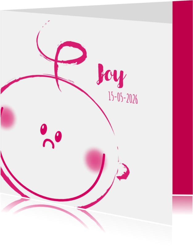 Geboortekaartjes - Meisje geboren BLIJ gezichtje R