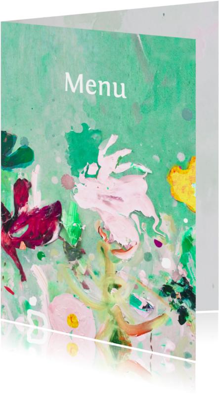 Menukaarten - Menu fleurige bloemen mix