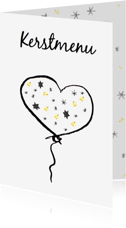 Menukaarten - Menukaart Kerst ballon hart