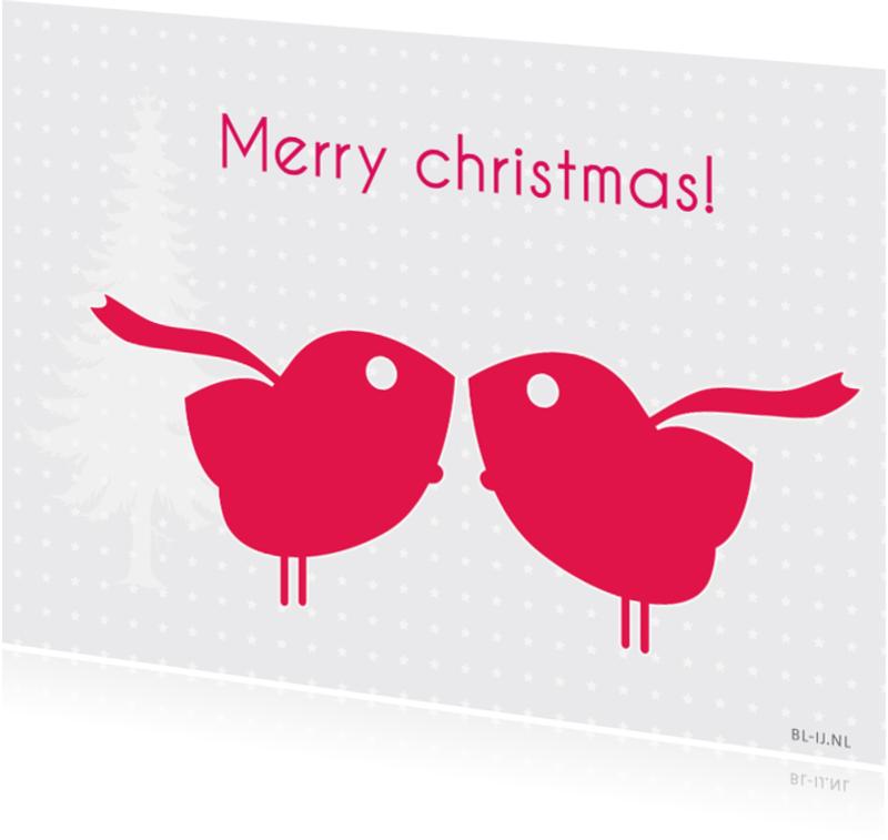 Kerstkaarten - Merry christmas birds