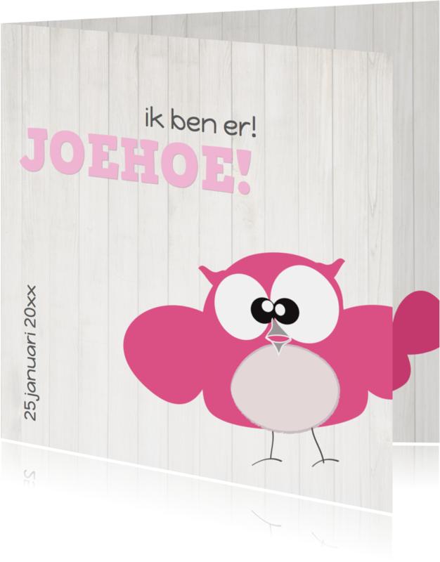 Geboortekaartjes - Mo Card Geboorte meisje uil