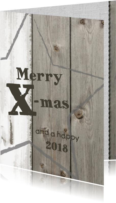 Kerstkaarten - Moderne kerstkaart hout & linnen