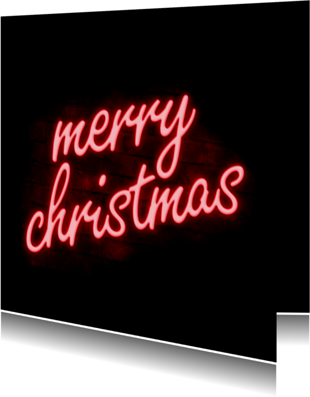 Kerstkaarten - Neon sign merry christmas kaart