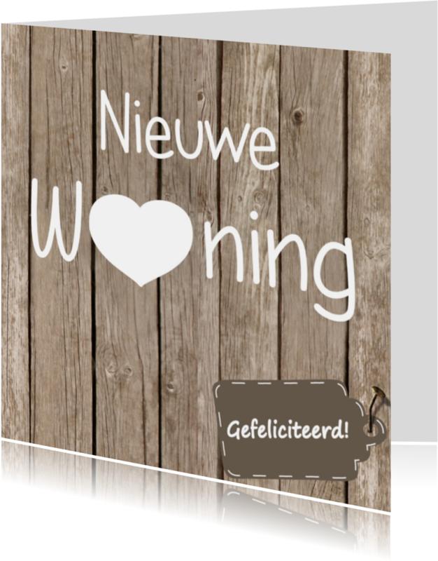 Verhuiskaarten - Nieuwe woning hout/label