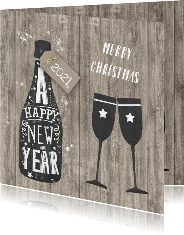 Kerstkaarten - Nieuwjaar champagne