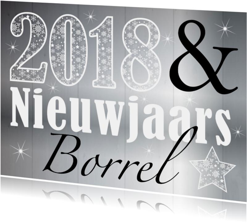 Uitnodigingen - Nieuwjaarsborrel zilver design 2018 - LB