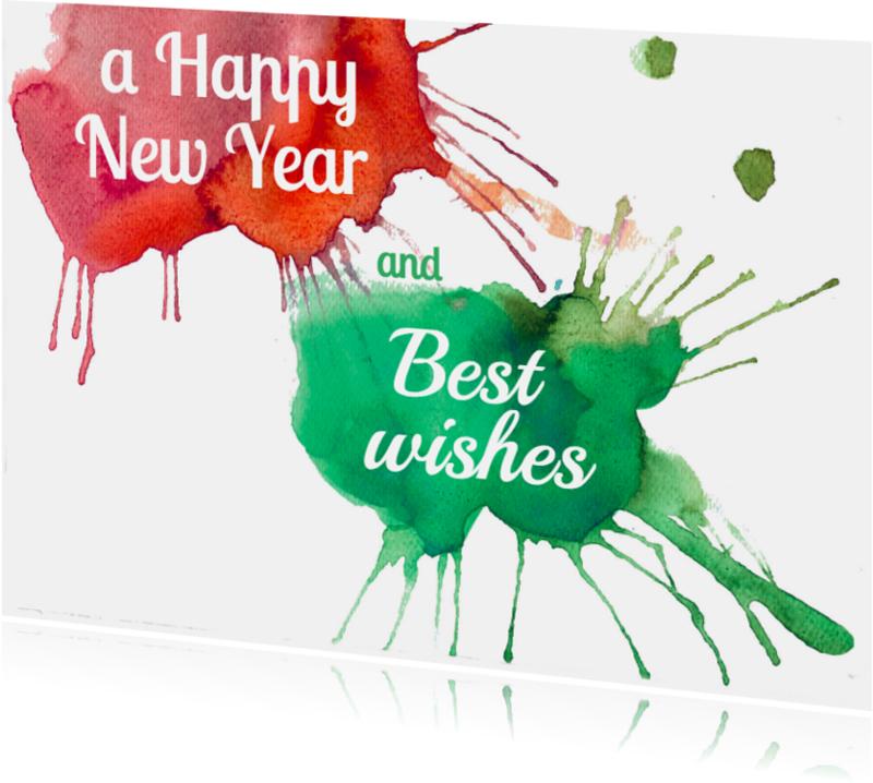 Nieuwjaarskaarten - nieuwjaarskaart aquarel