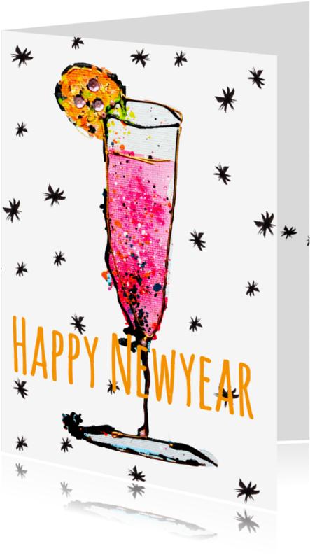 Uitnodigingen - Nieuwjaarskaart champagneglas
