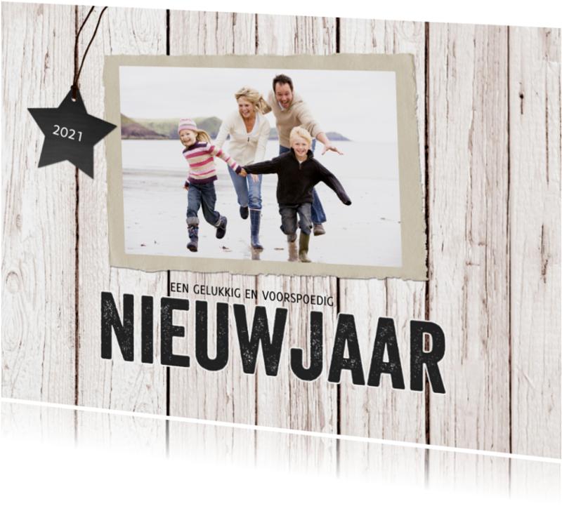 Nieuwjaarskaarten - Nieuwjaarskaart hout foto
