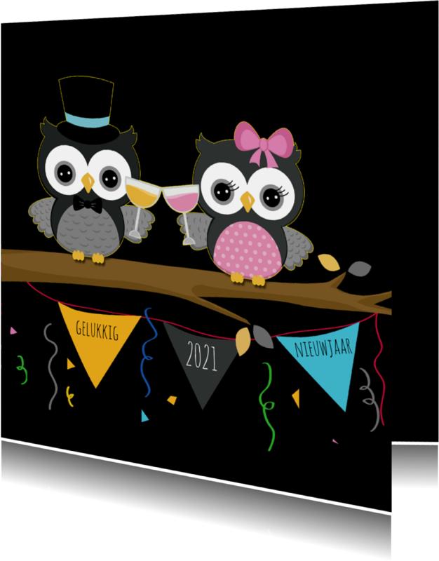 Nieuwjaarskaarten - Nieuwjaarskaart met uiltjes