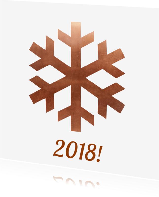 Nieuwjaarskaarten - Nieuwjaarskaart sneeuwvlok koper