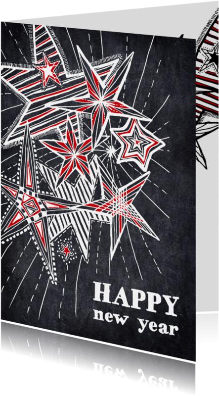 Nieuwjaarskaarten - Nieuwjaarskaart sterren in krijt