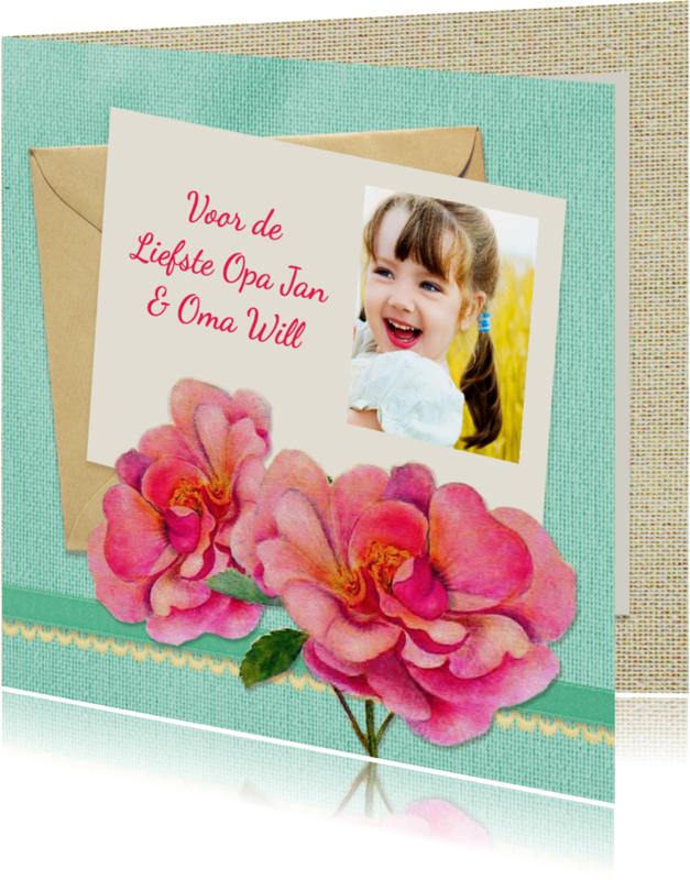 Verjaardagskaarten - Opa en Oma dag bloemen foto