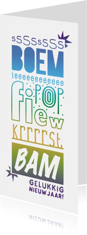 Nieuwjaarskaarten - Oud & Nieuw Typografisch vuurwerk