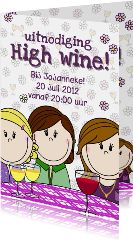 Uitnodigingen - Party girls High wine