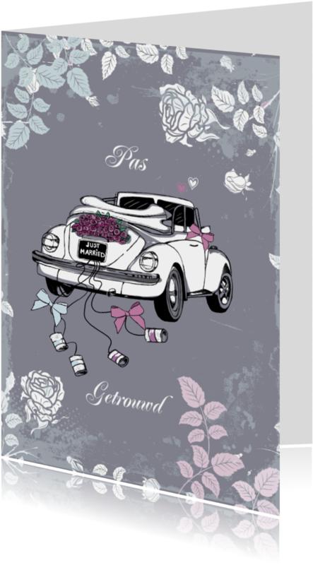 Trouwkaarten - pas getrouwd witte kever in grijs