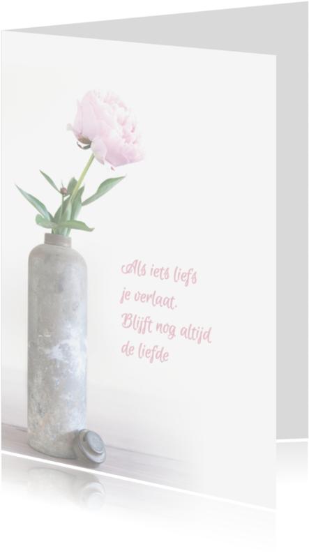 Condoleancekaarten - Pioenroos in vaas staande kaart