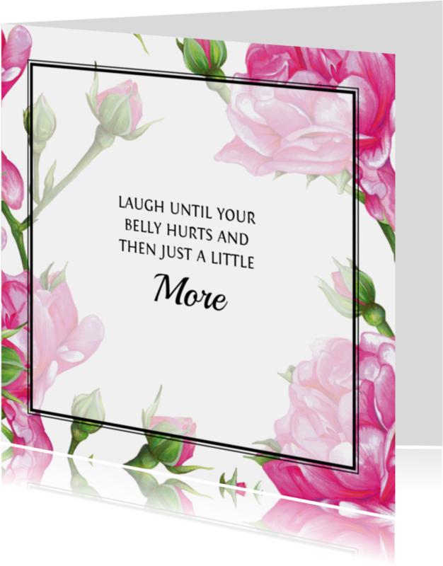 Spreukenkaarten - Positieve Kaart Met Roze Rozen