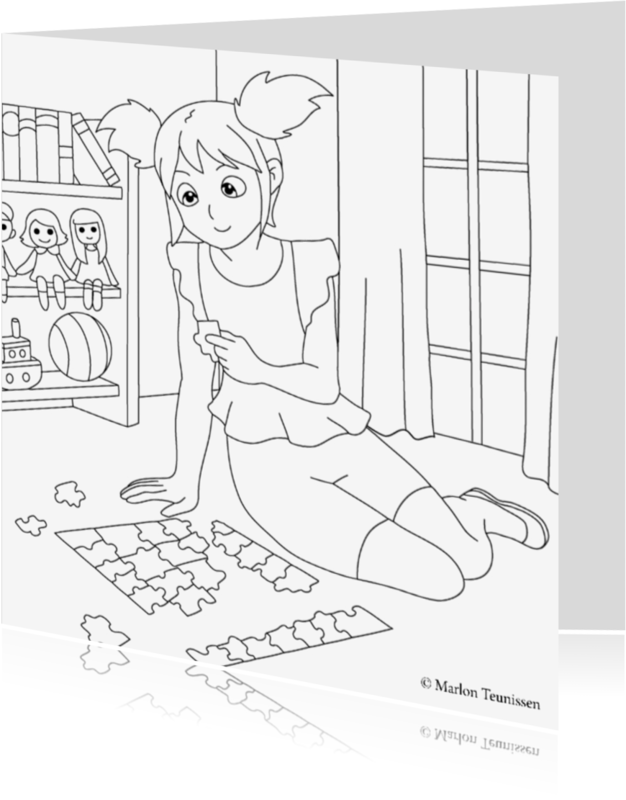 Kleurplaat kaarten - puzzel meisje