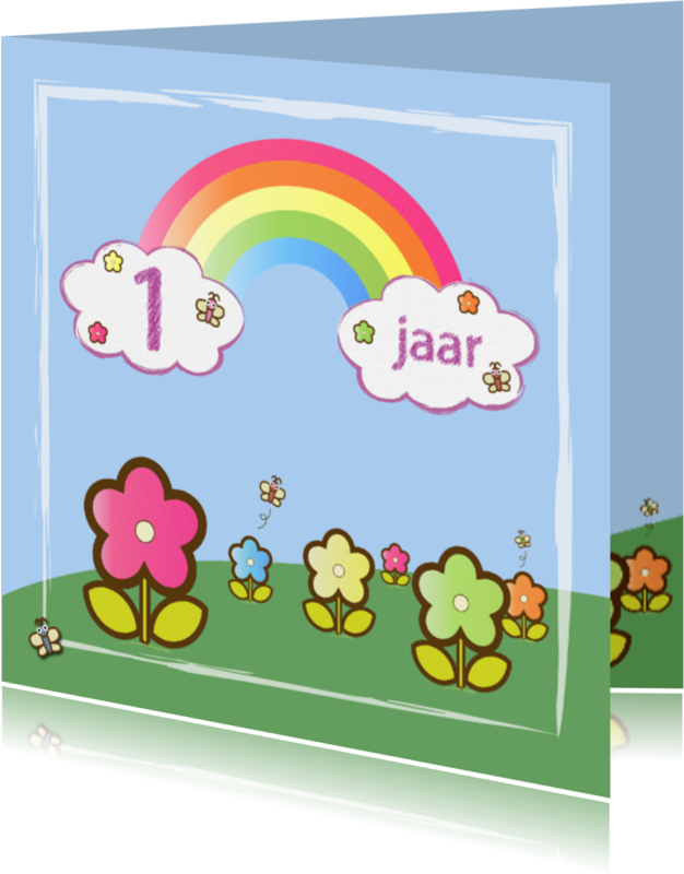 Verjaardagskaarten - regenboog vlinders en bloemen 1 jaar