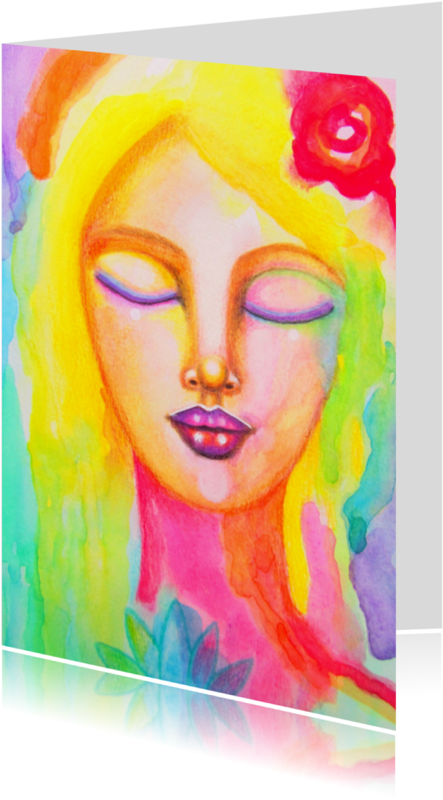 Religie kaarten - Religie Meisje met lotus - AS