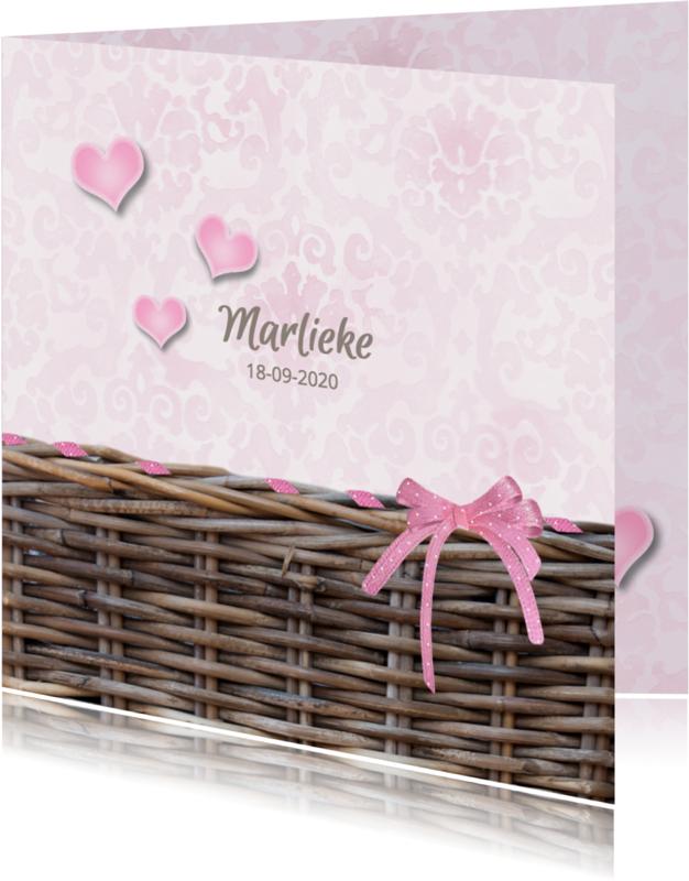 Geboortekaartjes - Rieten mand met strik - roze