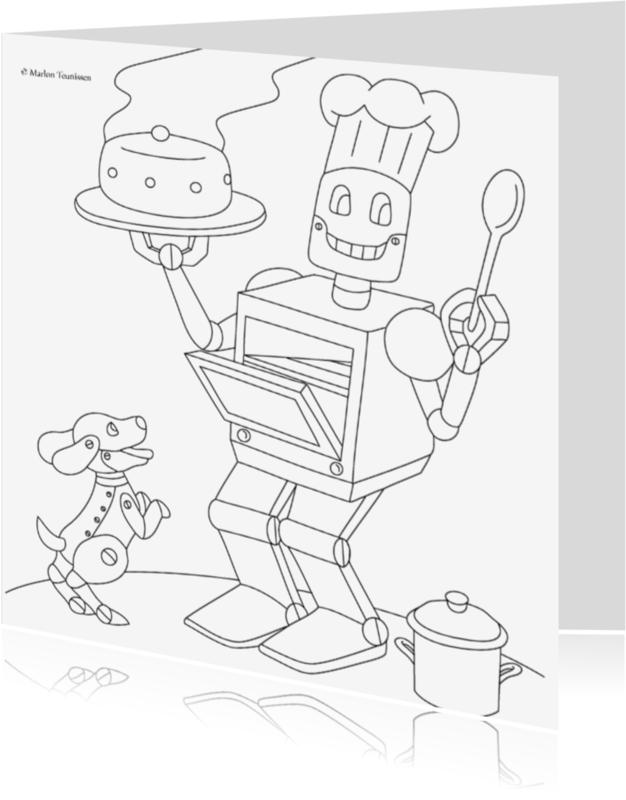 Kleurplaat kaarten - robot kok
