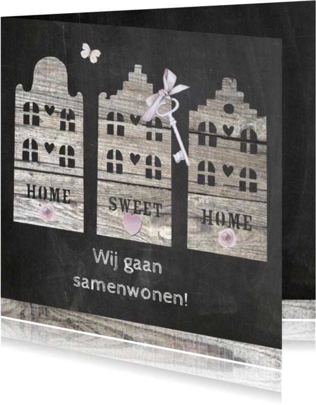 Samenwonen kaarten - samenwonen houten huisjes