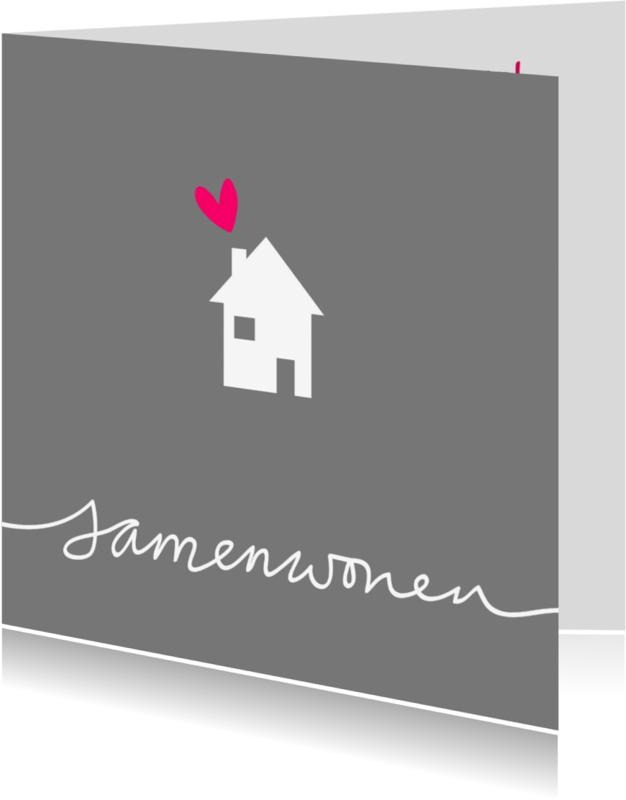 Samenwonen kaarten - Samenwoonkaart-huisje-tekst-PF