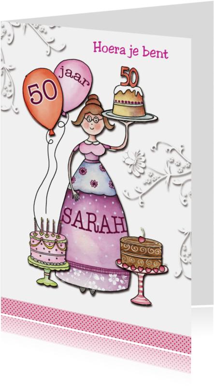 Verjaardagskaarten - Sarah 50 jaar met taarten