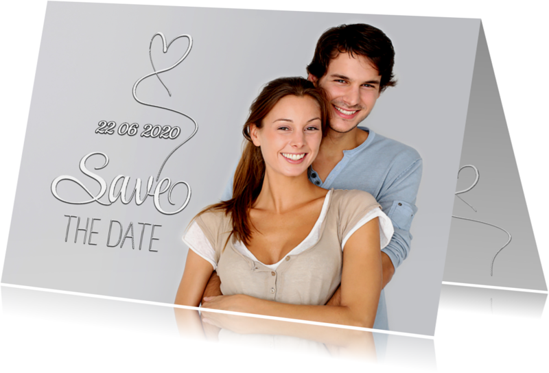 Trouwkaarten - Save the Date foto tekst wit SG