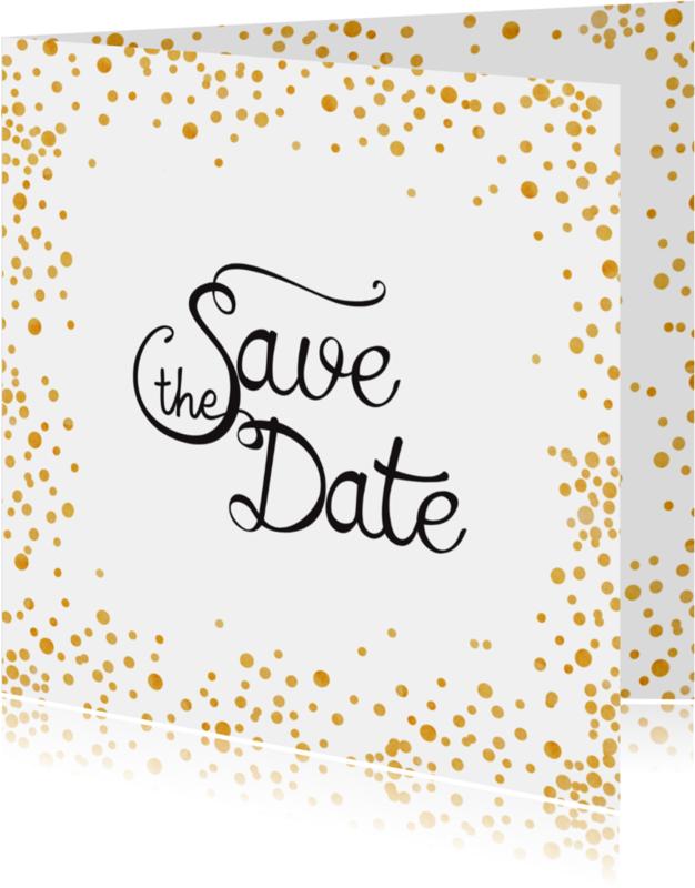 Trouwkaarten - Save the date Gold Sparkle - SV