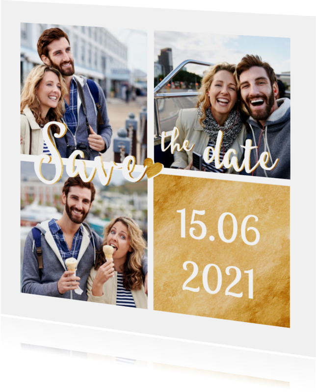 Trouwkaarten - Save the date goud fotocollage